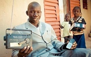 Man holding radio